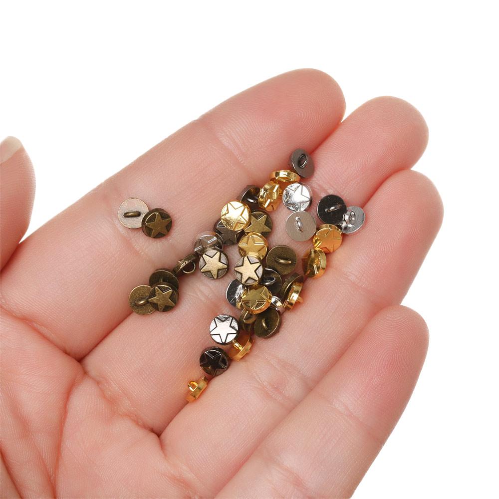 Mini hebilla de botón DIY de 5mm, hebilla de Metal con diseño de estrella, hebillas decorativas para muñecas de escala 1/6, accesorios de costura para ropa DIY, 20/40 unidades