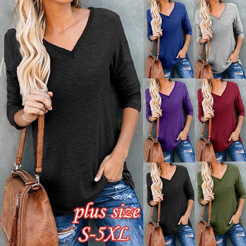Casual preto camisetas femininas manga longa outono algodão t solto esportes senhoras botão superior com decote em v rua azul camiseta tamanho grande 5xl