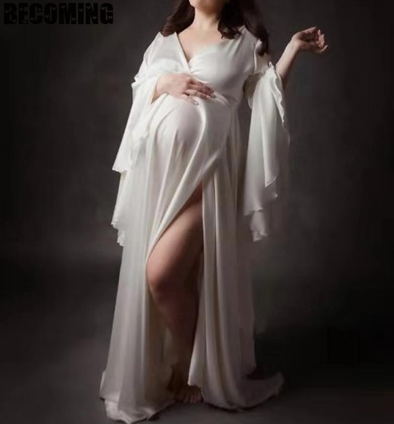 Maternity Dress For Photo Shoot Sexy Maxi White Pregnant Dresses For Photography Big Plus Size Pregnancy Dress For Photo Shoot enlarge