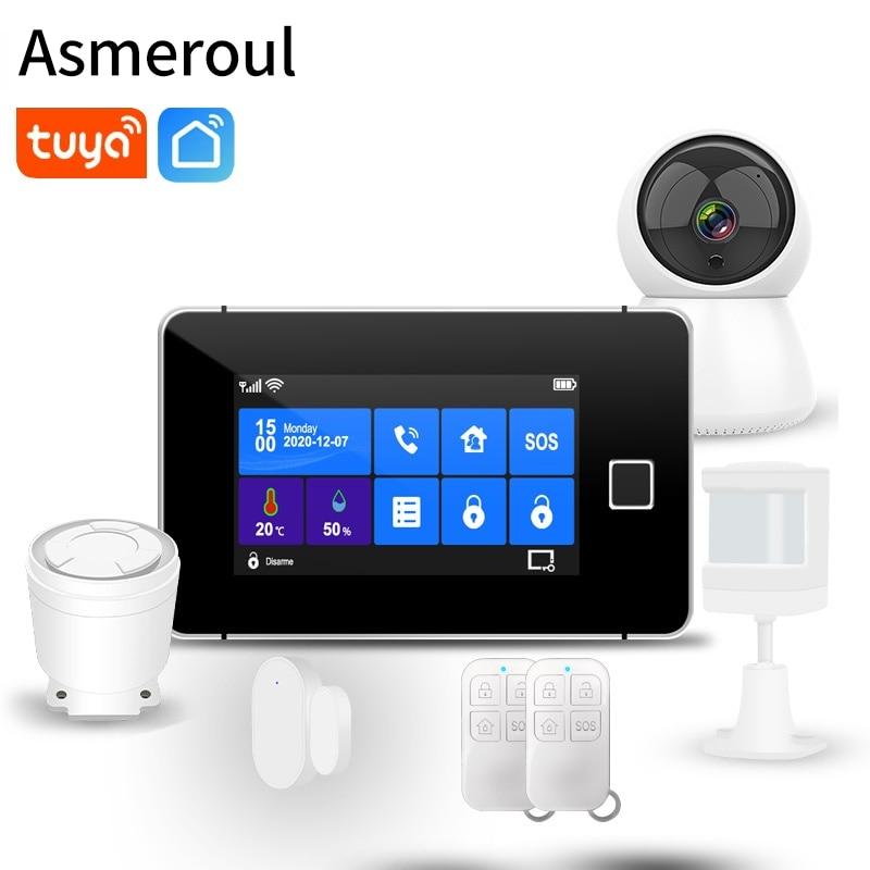 433MHz Home Burglar Alarm Wifi GSM Alarm System Wireless Wired Sensor TFT Touch Keyboard Fingerprint Arming Temperature Humidity