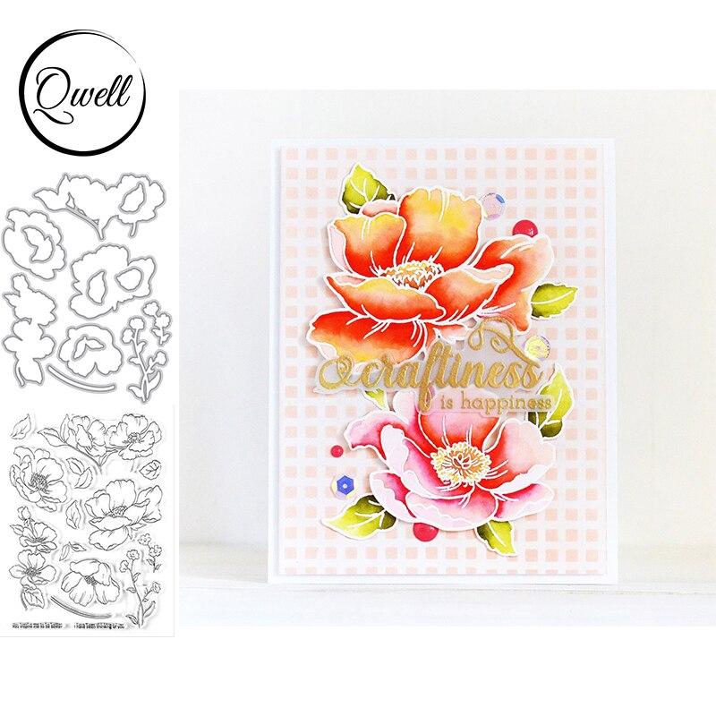 QWELL Blossom Stem Metal troqueles de corte a juego de silicona transparente pétalos de flores DIY Scrapbooking Craft Card Making plantilla 2020