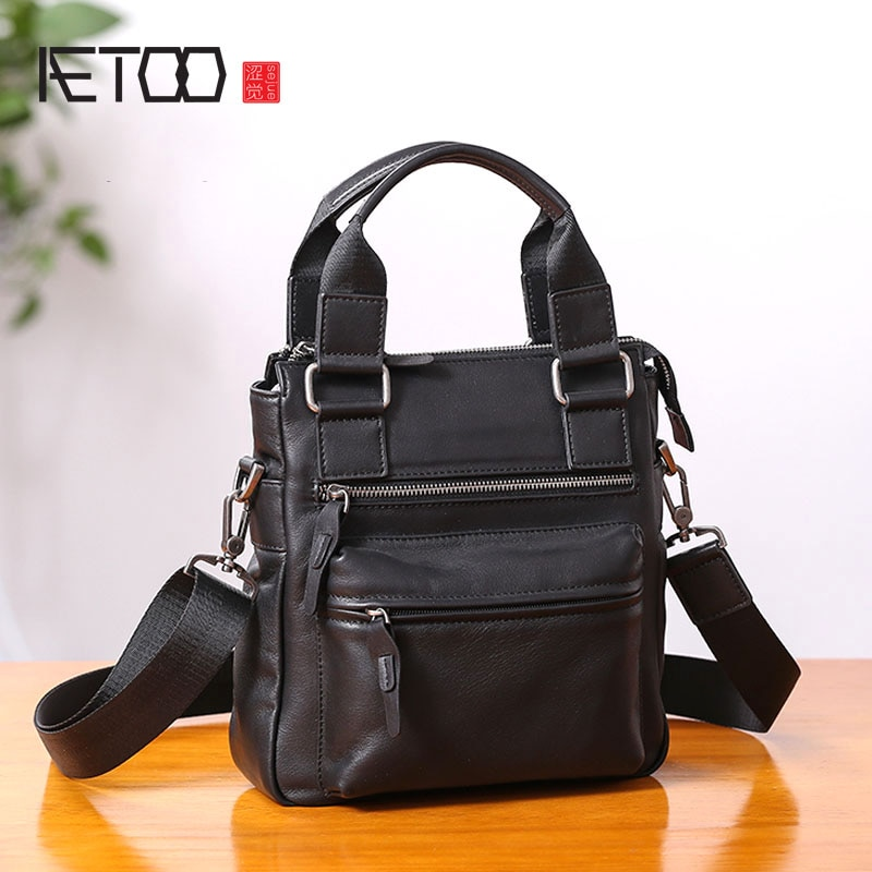 AETOO Small handbag mens leather vertical business casual shoulder diagonal cross-body bag