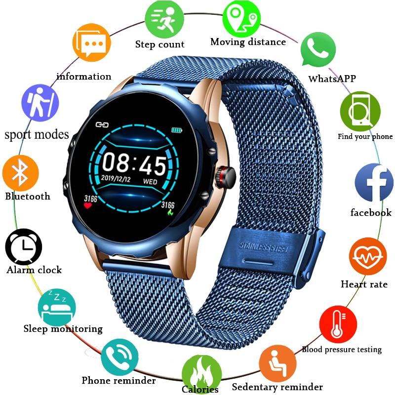 Bluetooth lige relógio inteligente à prova dwaterproof água mensagem chamada lembrete smartwatch masculino monitor de freqüência cardíaca fitness rastreador android ios telefone