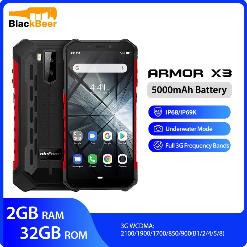 هاتف Ulefone Armor X3 بشاشة 5.5 بوصة فائقة الدقة IP68 هاتف ذكي متين مقاوم للماء يعمل بنظام أندرويد 9.0 رباعي النواة هاتف 2G 32G هاتف 5000mAh