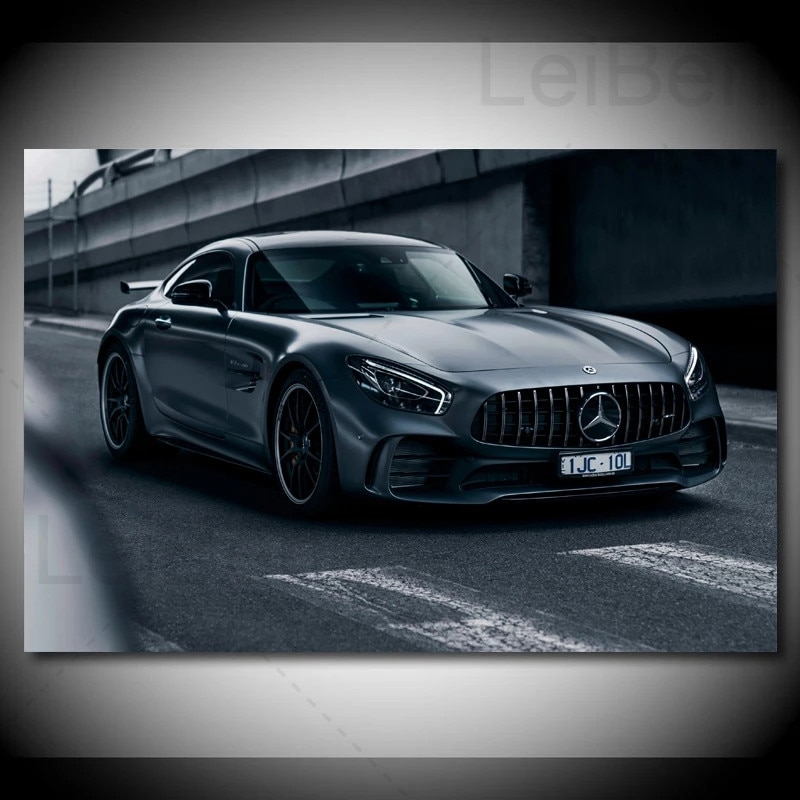 Modern HD Photography Pictures Classic Black Sports Car Posters And Prints Decoration Canvas Painting For Men Bedroom Frameless