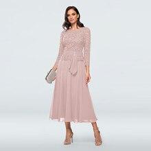 Nouveau charmant rose pâle dentelle longueur de thé mère de la mariée robes à manches longues col bateau robes de fête de mariage ceinture perlée