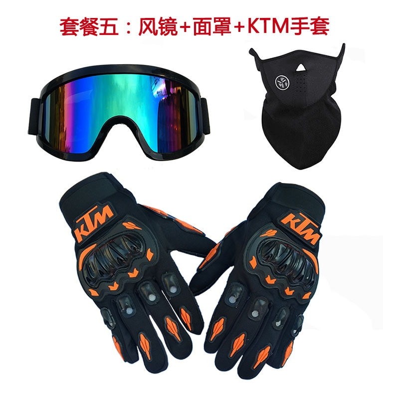 Three piece cross country helmet, goggles, ski mask, motorcycle riding, hard shell gloves, color glasses, red, black and green enlarge