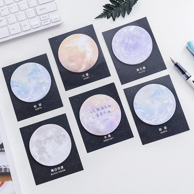 Xgz 10 peças japão e coreia do sul papelaria criativo planeta série post-it notas redondas bloco de notas tearable escritório n times post