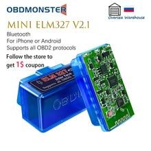 OBDMonster Mini ELM327 V2.1 For iPhone/ Android Bluetooth Automotive OBD2 Diagnostic Scanner Check E