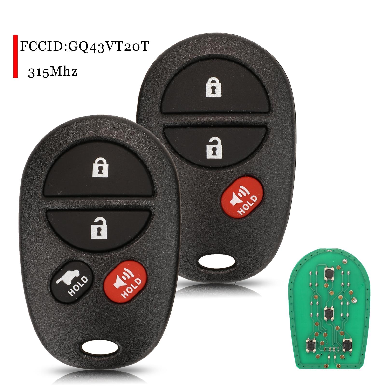 jingyuqin 10pcs For Toyota Tacoma Tundra Highlander Sequoia Sienna 2008-2012 3/4 Buttons Remote Key Fob 315Mhz FCCID:GQ43VT20T