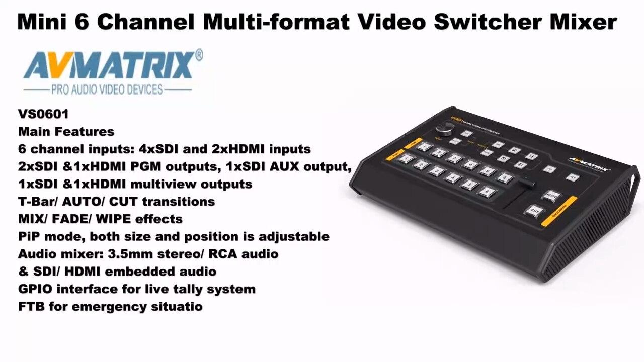 Avmatrix Mini 6 قناة SDI/HDMI متعدد تنسيق تيار محول فيديو VS0601U 3G-SDI مع إخراج USB Type-C