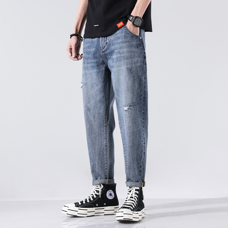 XY-1902 Summer Men Harem Jeans Thin Fashion Street Style Chic Hip Hop Hole Casual Straight Bleached