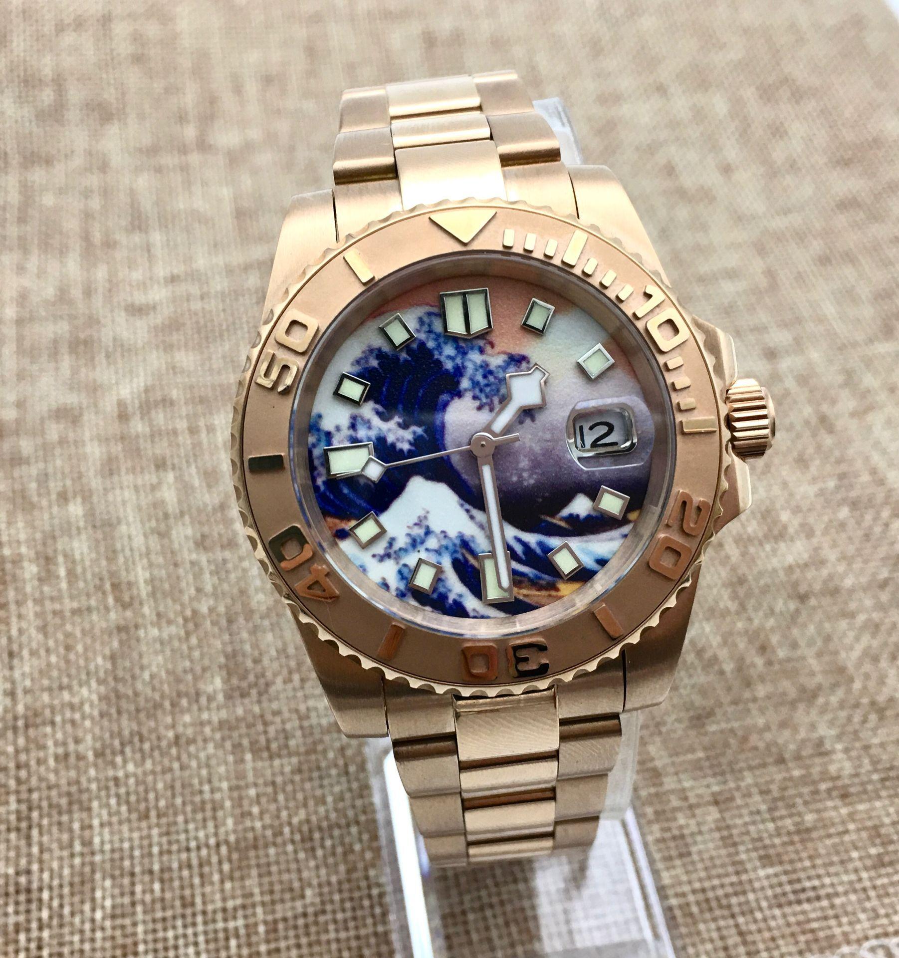 40mm Kanagawa Surf Luminous Dial Ceramic Ring Yacht Men's Automatic Mechanical Watch Stainless Steel Rose Gold Case