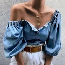 Fashion Women Loose Off Shoulder Blouse Denim Lantern Sleeve Blouse Shirt Ladies Tops Big Size Baggy Vintage Shirt Female Blusas