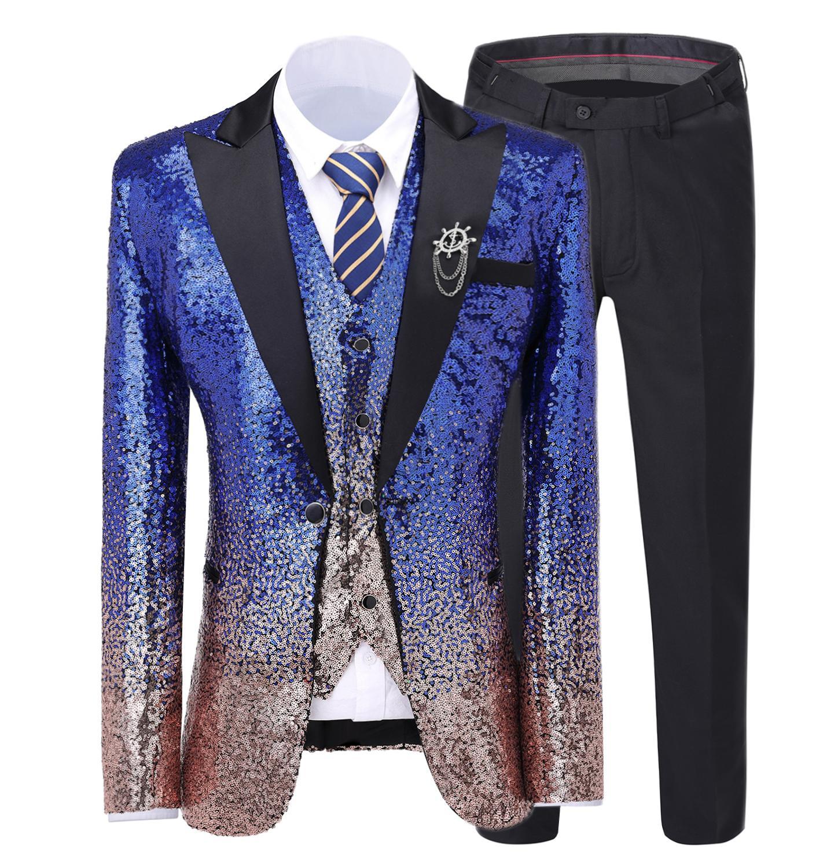 Royal Blue Men's Suit Gradually Changing Color Sequin Blazer Peak Notch Lapel Tuxedo For Wedding Party Groom (Blazer+Vest+pants) notch collar pleated panel blazer