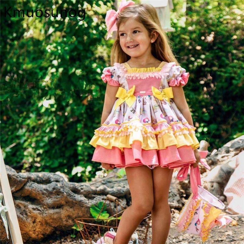 Summer Baby Girl Vintage Spanish Yellow Balloon Dress Gown Ball Princess Print Dress Lolita Birthday Party Dress for Girls H0942