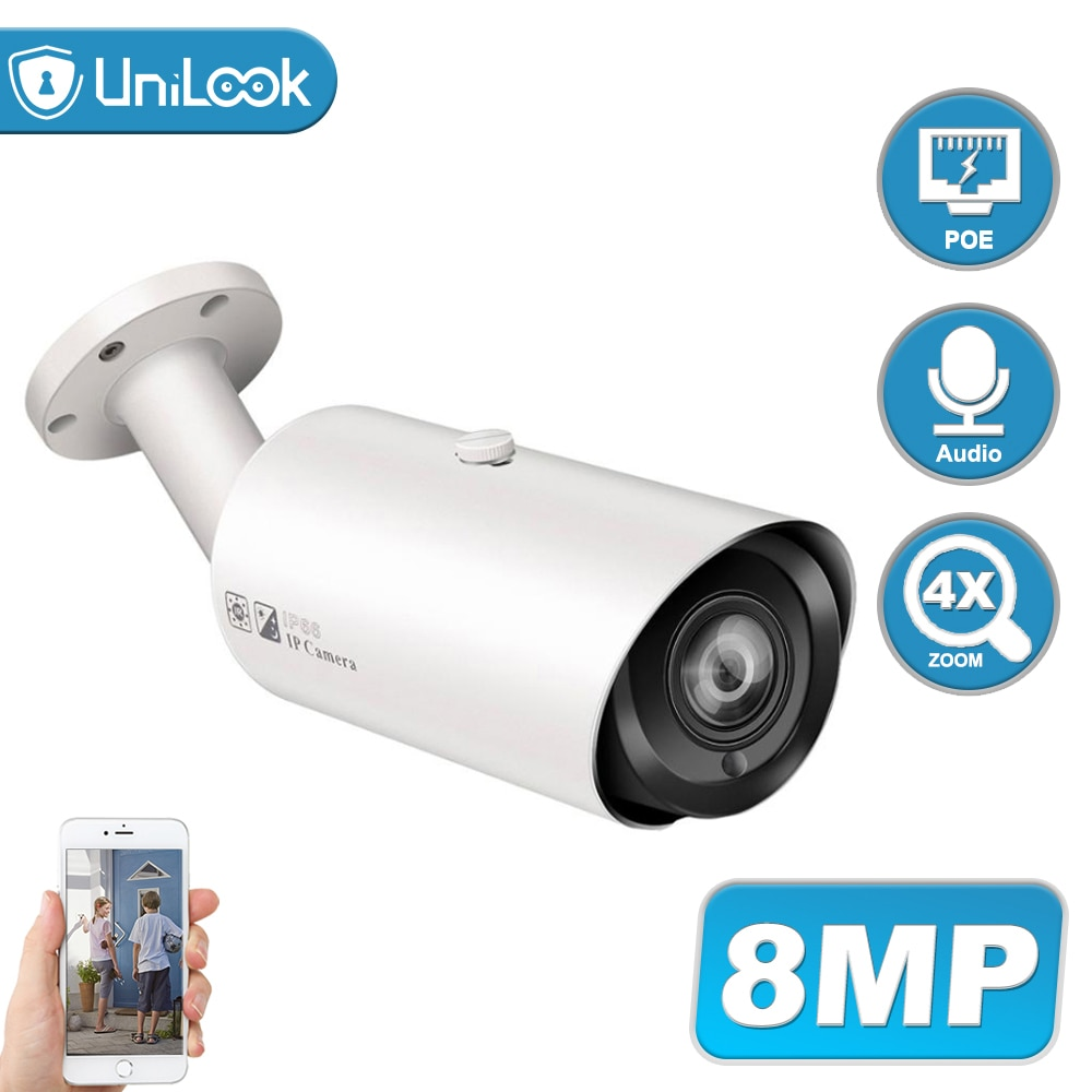 UniLook 8MP Bullet POE IP Camera Support 4X Zoom Built in Microphone SD Card Slot Outdoor Security Camera IP66 ONVIF H.265 5mp bullet poe ip camera built in microphone sd card slot cctv security cctv camera ip66 night vision h 265 onvif p2p