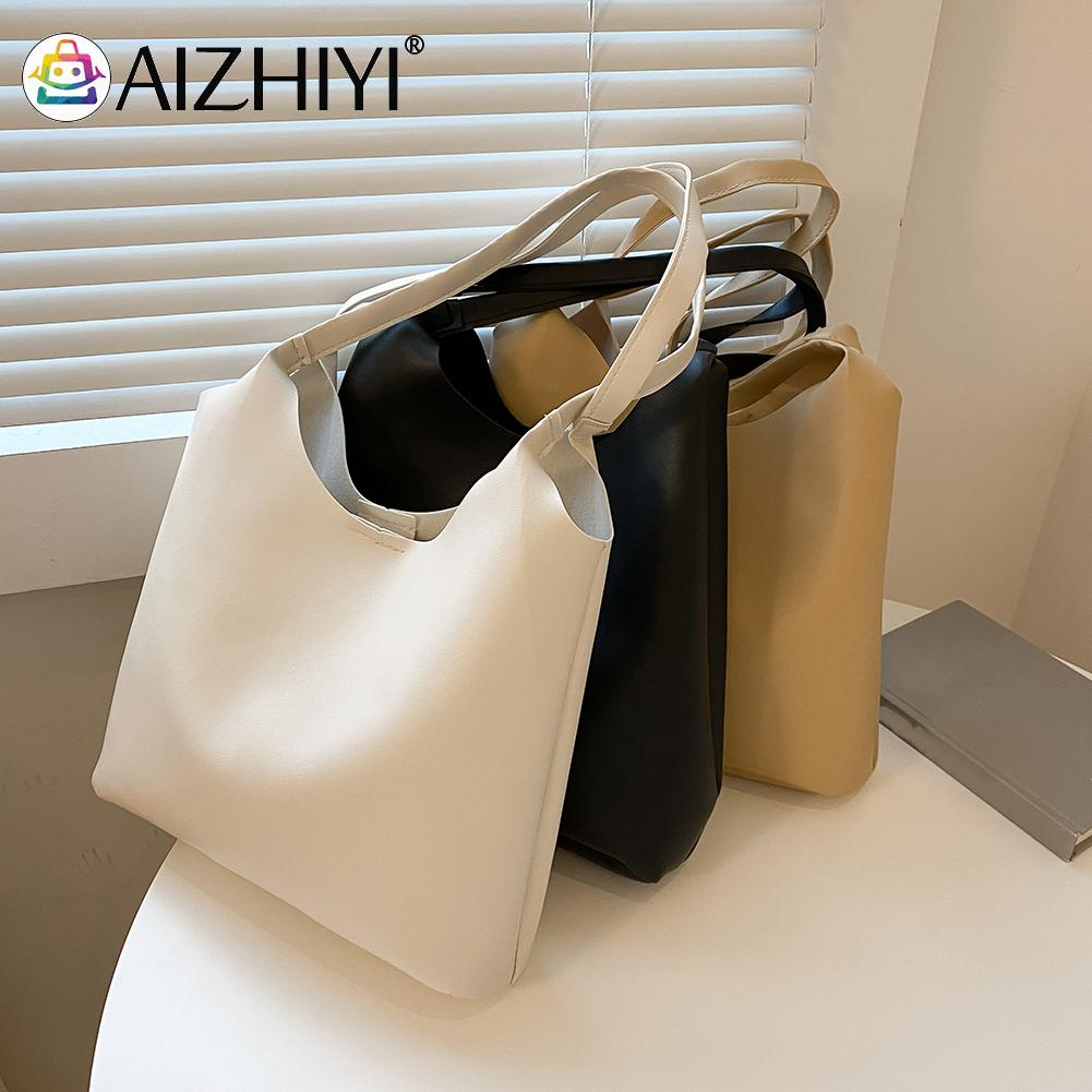 Vintage Women PU Leather Solid Color Shoulder Shopping Bag Casual Ladies Large Capacity Tote Handbags aa women fashionable solid color portable crossboby bag pu leather casual style small shoulder bag for ladies daily shopping bag