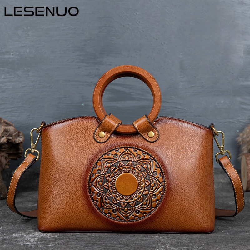 LESENUO Women's Vintage Brown Bag Cow Leather Luxury Designer Handbag 2020 Fashion Brand Handbags Print Shoulder Bags