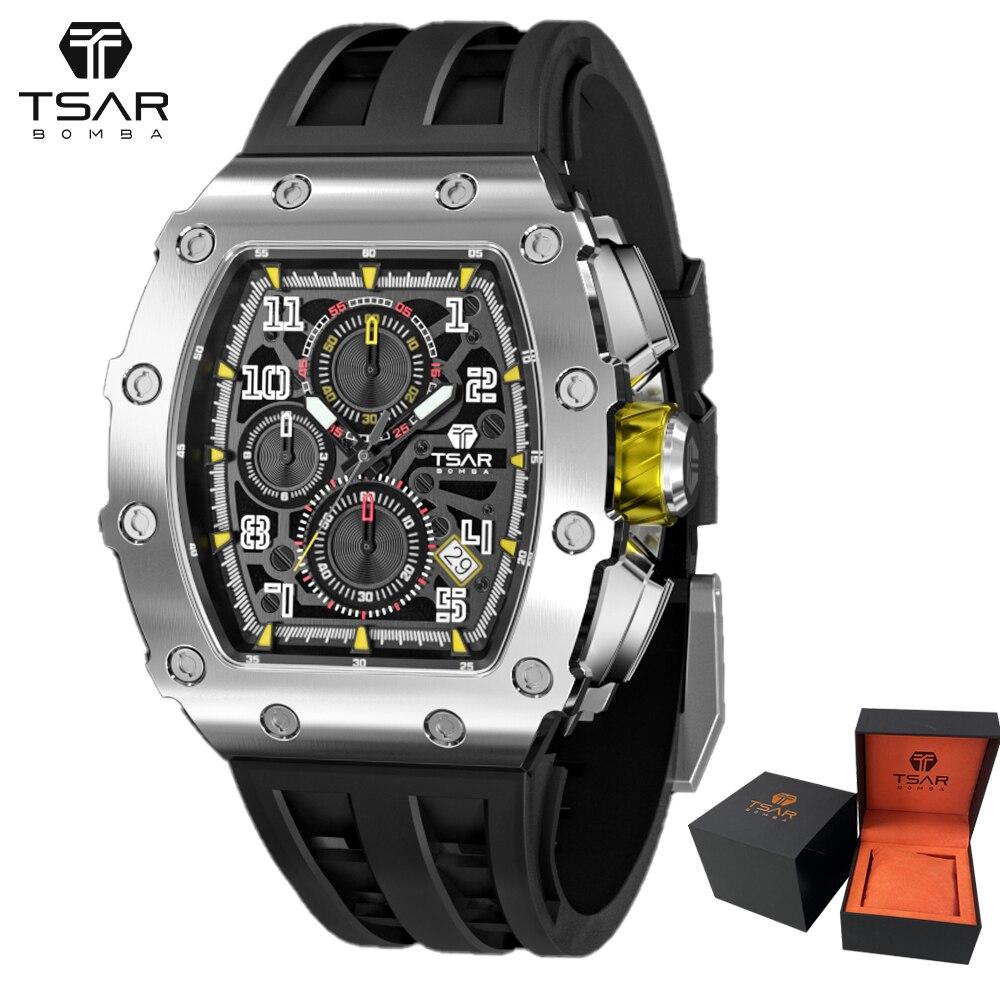 TSAR BOMBA بومبا ساعة رجالي أسود الرياضة كرونوغراف 50 متر مقاوم للماء Tonneau ساعة اليد الفاخرة هدية ساعة كوارتز للرجال Montre أوم