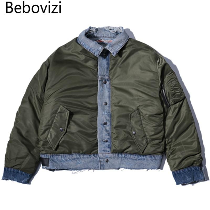 Bebovizi 2021 Hiphop Brand High Street Jacket Autumn New Men's Water Cut Pocket Double-sided Wear Men's Denim Jacket