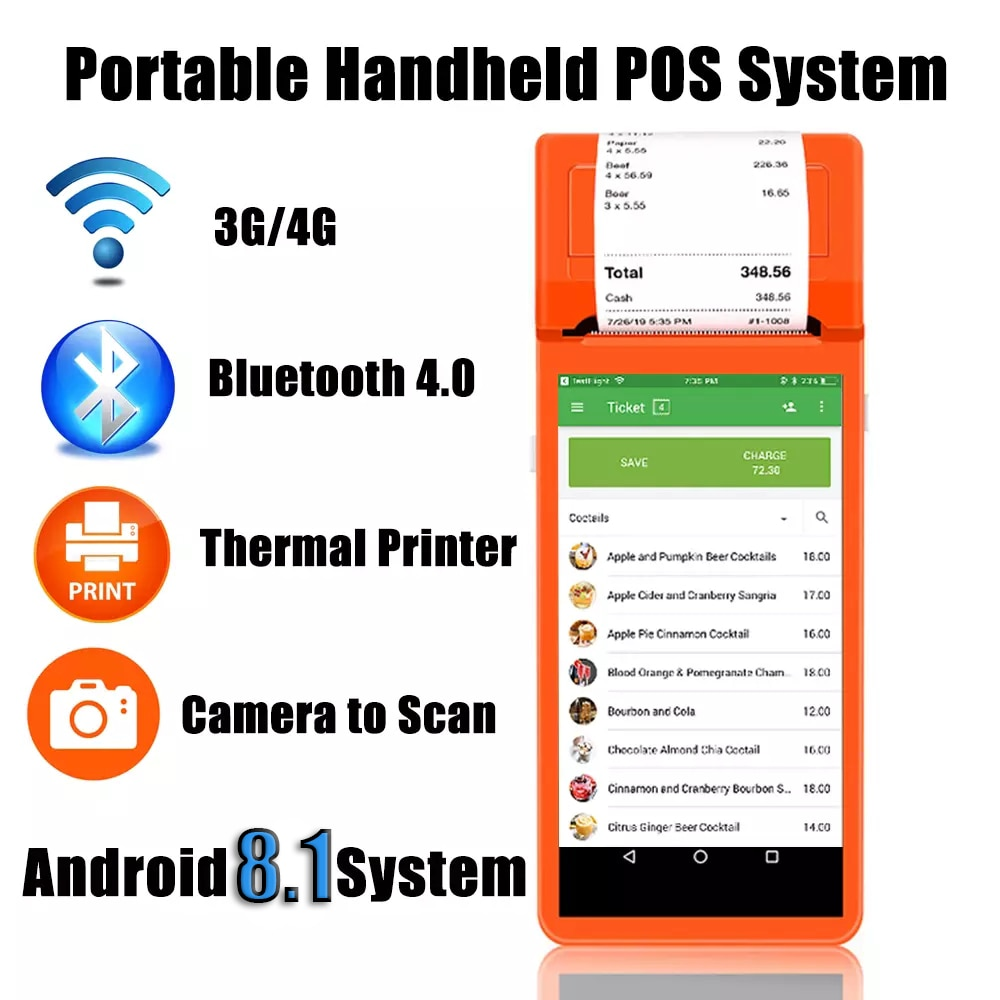Android POS Terminal Handheld PDA portable Barcode Scanner Bluetooth4.0 WIFI 3G Free SDK With Built in Thermal Printer