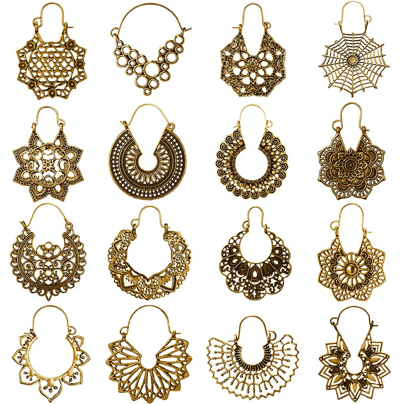 HuaTang Vintage Gold Silver Color Metal Dangle Hollow Earrings for Women Geometric Carved Ethnic Ear