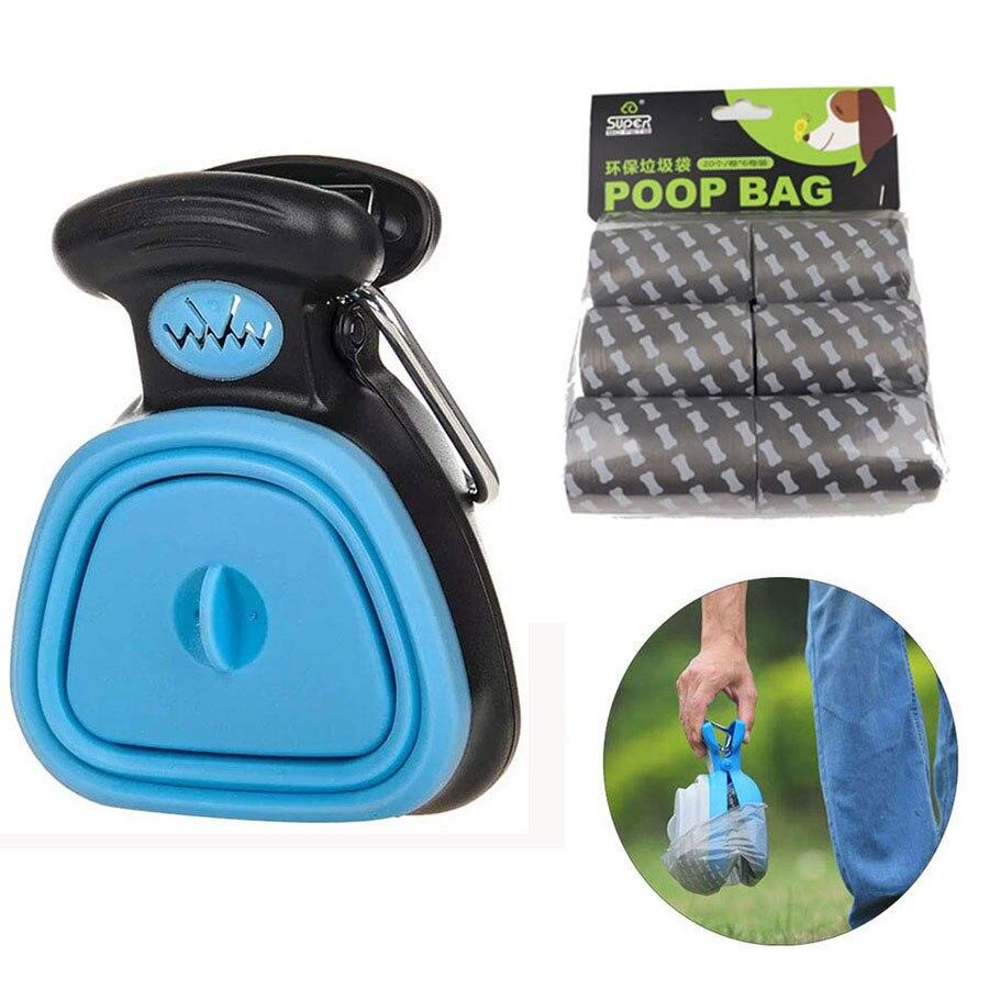 Accesorio para mascotas, dispensador de Bolsa para popó para perros con 1 rollo de recogedor plegable para viaje, recogedor de excrementos, producto de limpieza para residuos de animales
