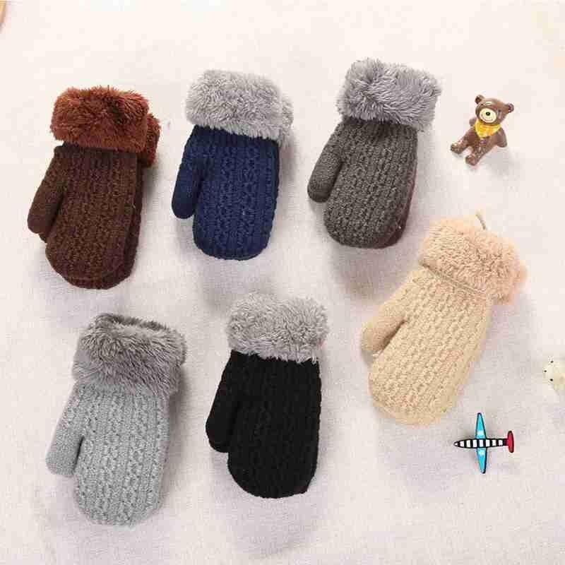 Children's Double-layer Knitted Velvet Halterneck Gloves Thick Knit Mittens Full Finger Gloves For T
