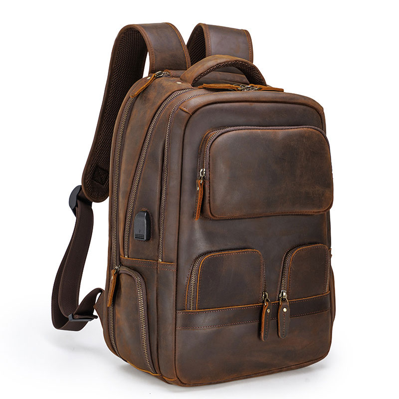 MAHEU-حقيبة ظهر جلدية للرجال ، حقيبة سفر ذات سعة كبيرة ، حقيبة خارجية مع اتصال usb ، حقيبة جلد crazy horse