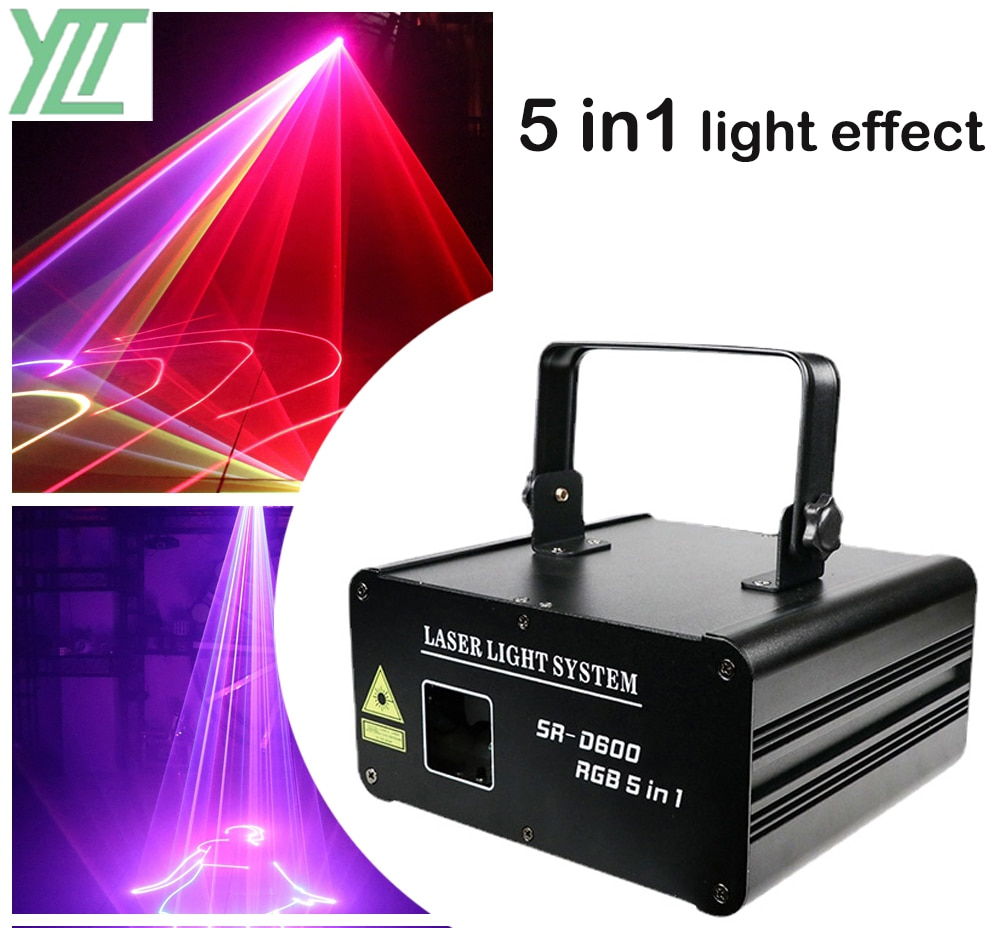 1W RGB 5IN1 Full Color Animation Laser Light DMX512 DJ Disco KTV Dance Party Projector Professional Stage Pattern Effect Light