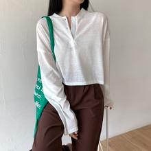 Ice Silk Thin Type Sunscreen Blouse T-shirt Female 2021new Design Sense Small Long Sleeve Short Top