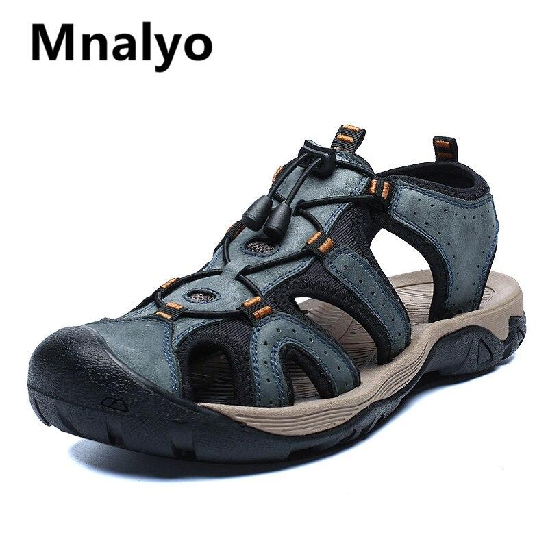 ¡Novedad de 2020! Sandalias de moda para hombre, chanclas suaves de verano para playa, cómodas sandalias de piel auténtica, sandalias romanas para hombres al aire libre, talla 46