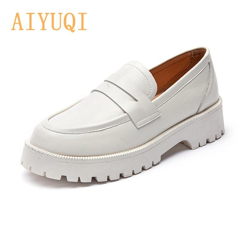 AIYUQI الربيع الأحذية الإناث النمط البريطاني 2021 جديد سميكة سوليد كلية نمط حذاء بدون كعب جلد طبيعي أحذية أنيقة الفتيات
