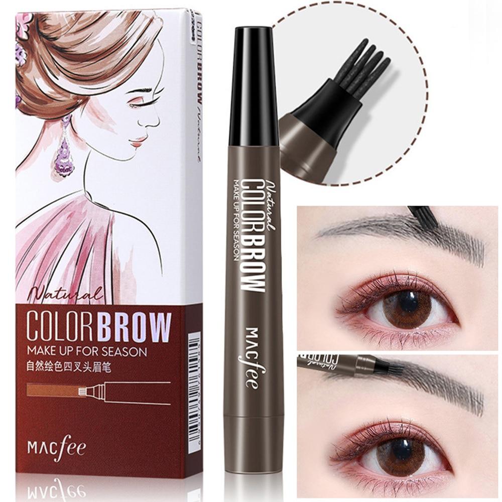 4 Points Liquid Eyebrow Pencil Waterproof Microblading Fork Tip Fine Sketch Eye Brow Tattoo Tint Pen Cosmetics Makeup Tool