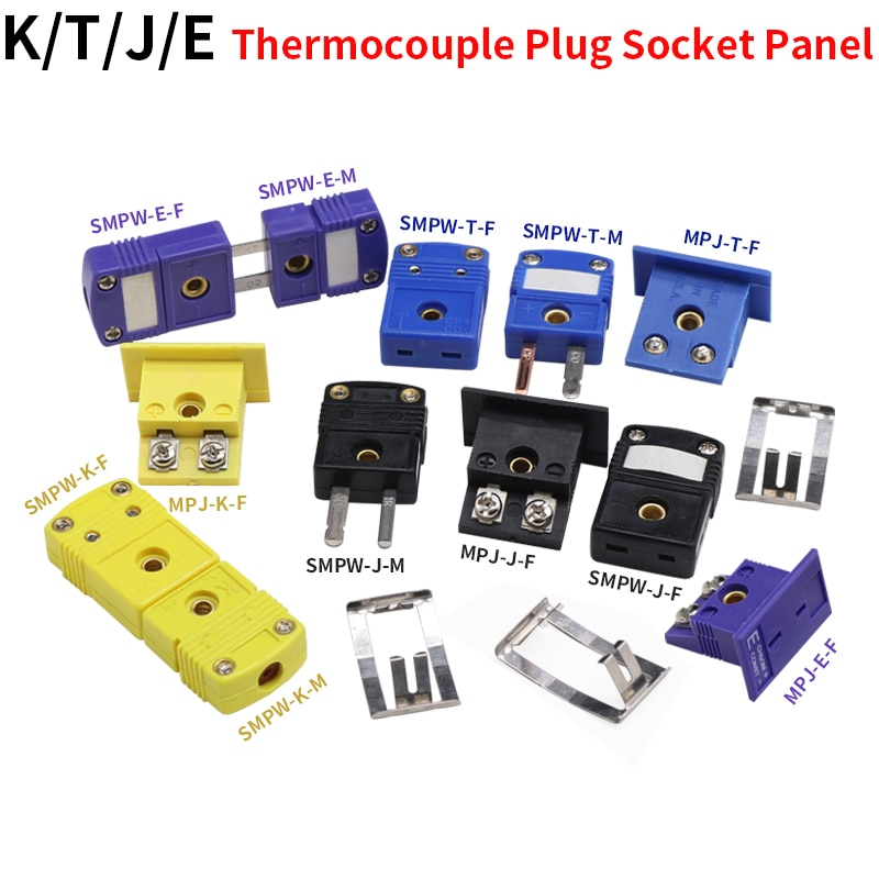 SMPW-K/J/T/E/-M/F MPJ-K/J/T/E-F Thermocouple Plug Socket And Panel Compensation Wire Connector недорого