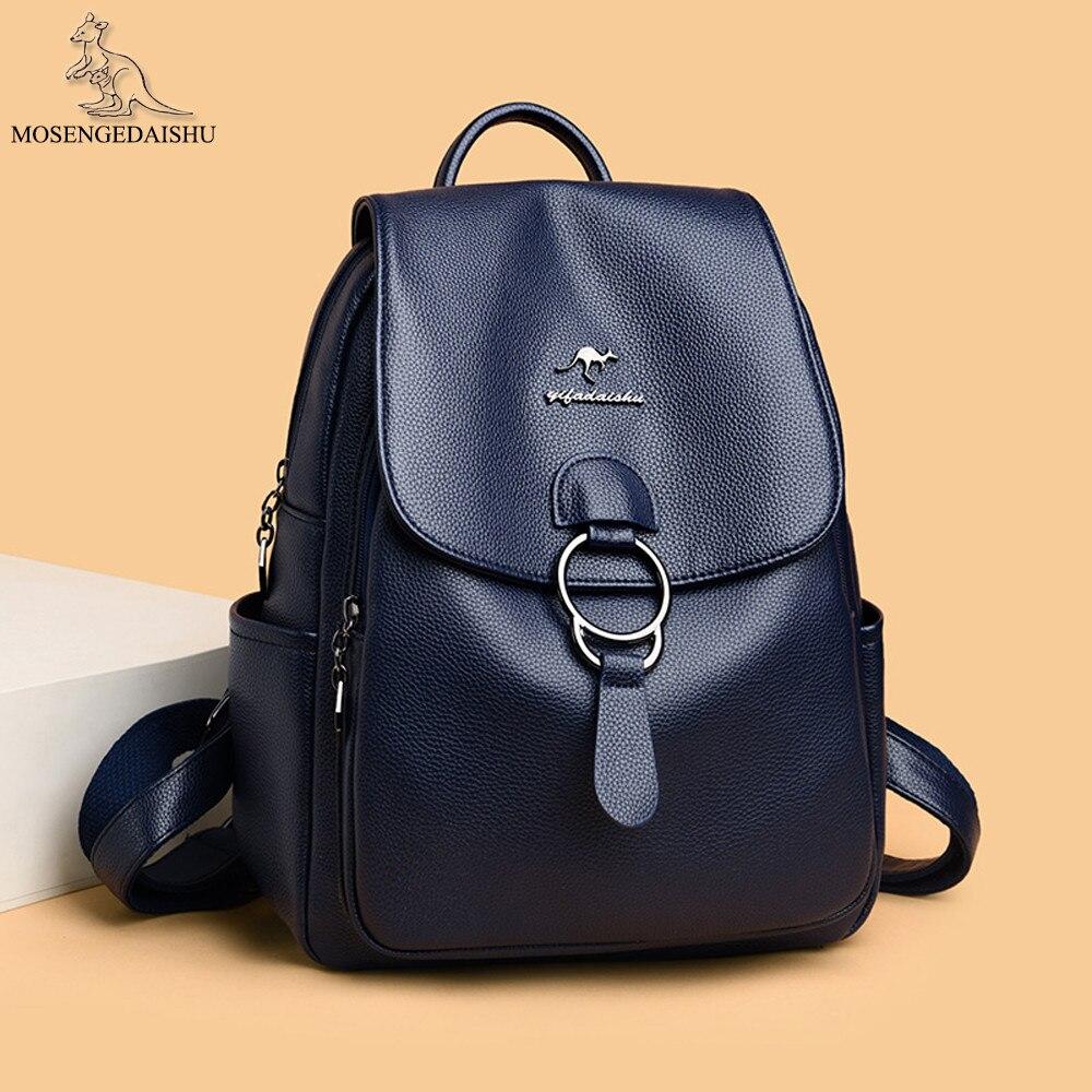 حقيبة ظهر نسائية من الجلد الطبيعي ، حقيبة ظهر فاخرة ذات علامة تجارية مع حزام بإبزيم ، حقيبة كتف بسعة كبيرة ، أزياء