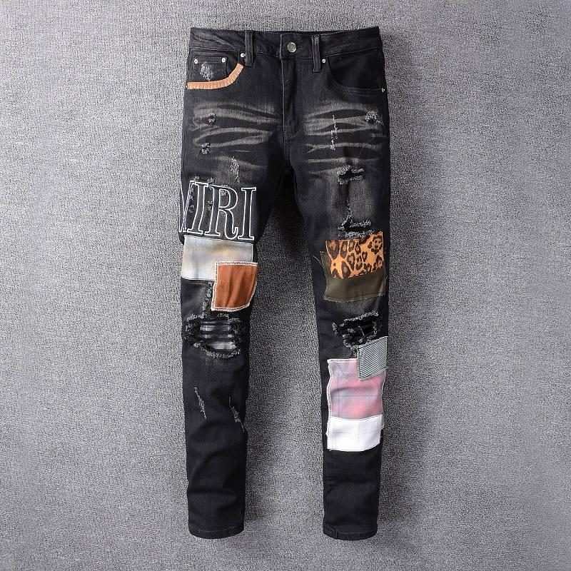 تصميم جديد لعام 2021 بنطال جينز أميري من الجينز ذو ثقوب ، بنطال جينز ممزق للرجال من HOMME ، بنطلون جينز كول غي 615