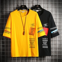 2020 hip hop t camisa masculina carta printt-camisa harajuku streetwear tshirt retalhos manga curta verão topos t voltar impresso