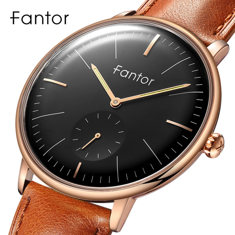 Fantor-ساعة جلدية غير رسمية للرجال ، ساعة يد رجالية ، كرونوغراف كوارتز ، مقاومة للماء ، كلاسيكية
