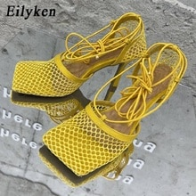 Eilyken 2021 חדש סקסי צהוב רשת משאבות סנדלי נקבה כיכר הבוהן עקב גבוהה תחרה עד צלב-קשור פגיון חלול שמלת נעליים