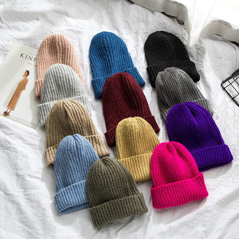 Solid Color Wool Beanie Winter Soft Warm Knitted Hats For Women Skullies Beanies Girls Ladies Casual