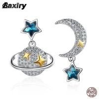 new fine stud earrings silver 925 original gold earring for women luxury fashion designer moon star crystal wedding jewelry 2021