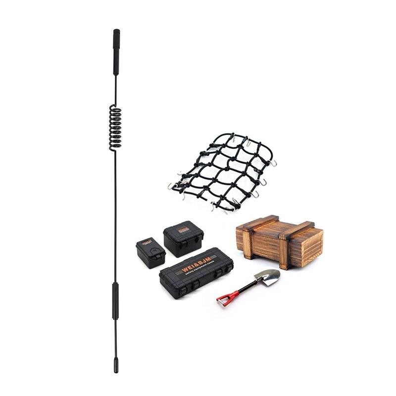 1x Metal 160mm Decorative Antenna for 1:10 Axial Scx10 90046 Traxxas Trx-4 Rc4Wd D90 & 6PCS Suitcase Luggage Net Shovel