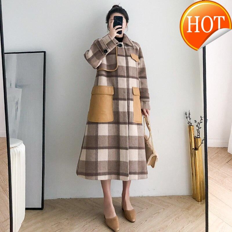 Abrigo de lana de invierno para Mujer, ropa de Mujer 2020, Abrigo de lana largo coreano elegante para Mujer, Abrigo de lana a cuadros de Alpaca para Mujer Hiver 81076