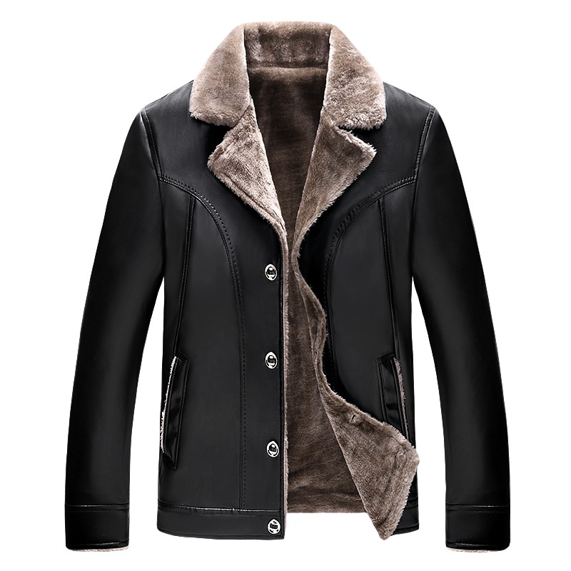 ChangNiu, черные Куртки из искусственной кожи, мужские куртки средней длины с искусственным мехом внутри, осенне-зимние теплые кожаные куртки, п...