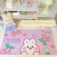 kawaii mouse pad big cherry cartoon rabbit table mat for students water proof desktop organizer