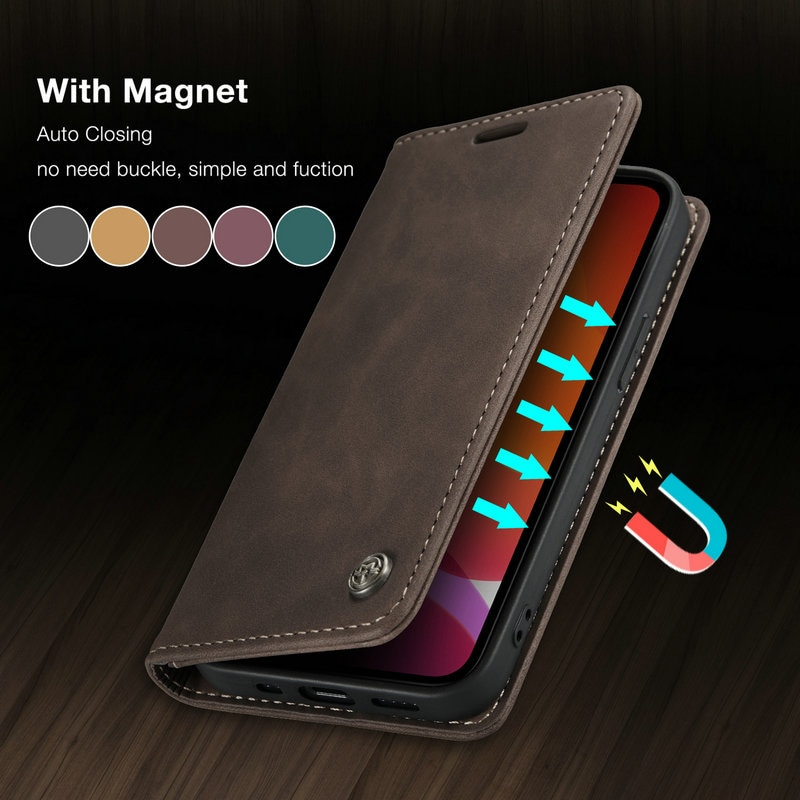 CaseMe Original Flip Case For iPhone 12 11 Pro Retro Magnetic Card Stand Wallet For iPhone 12 min X