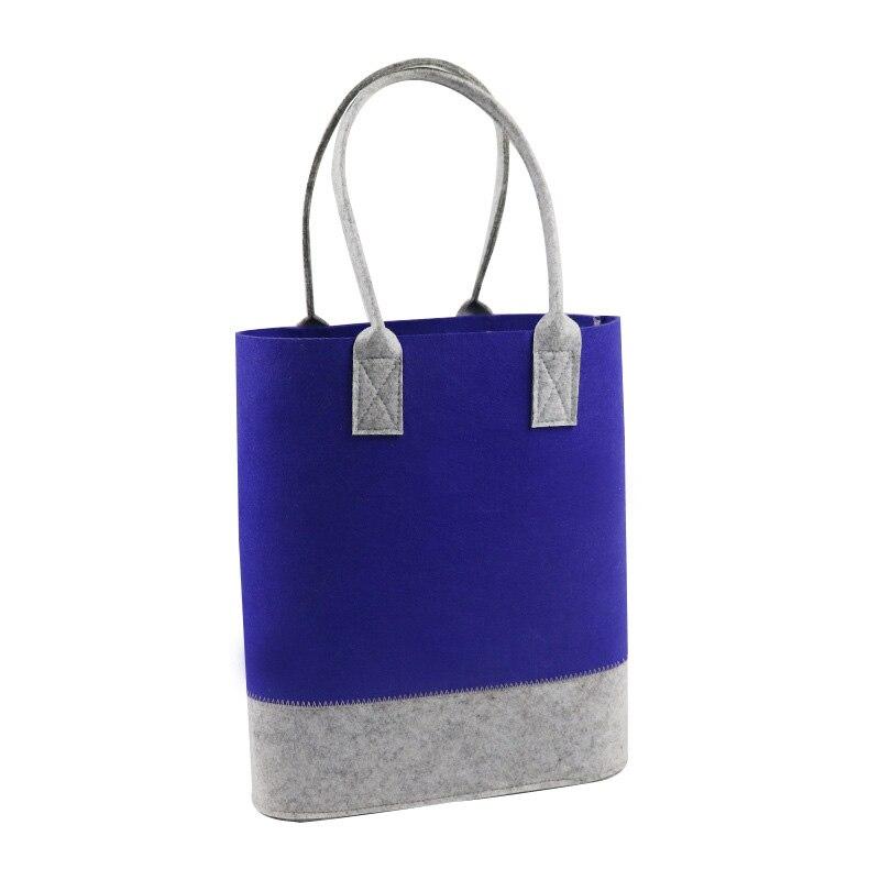 2019 bolso de mano de fieltro de moda para compras, bolso de mano de dos tonos para compras, bolso ecológico para mujeres, bolsos de mano