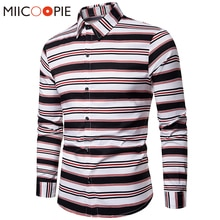 Hommes hauts Contraste Couleur Rayé Chemises Slim Fit manches longues Camisa Masculina Street Wear style casual Hommes décontracté Chemise Robe